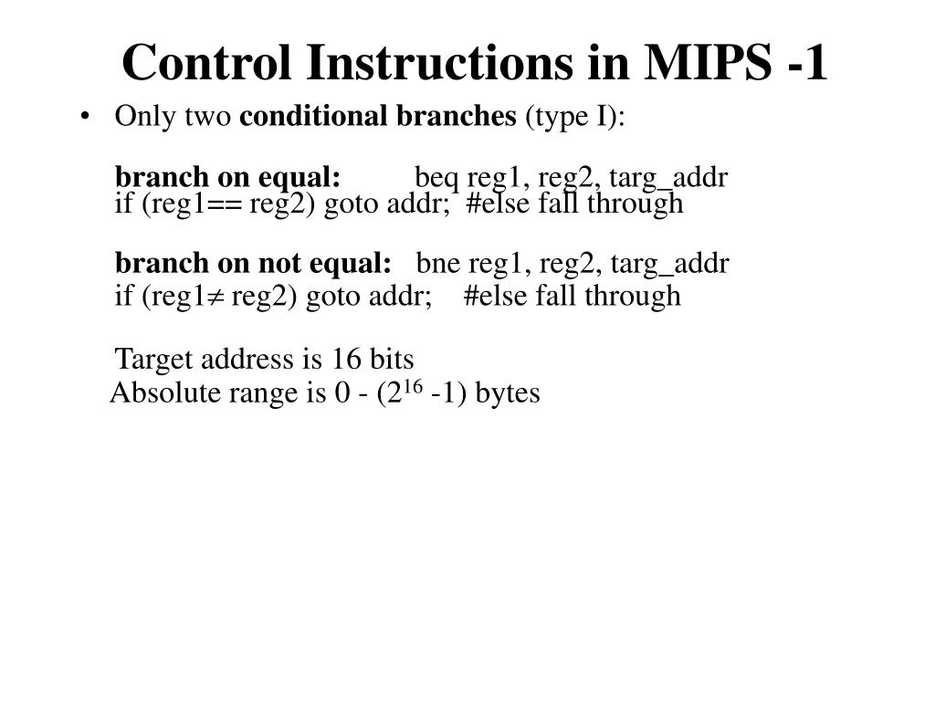 Control Instructions in MIPS -1