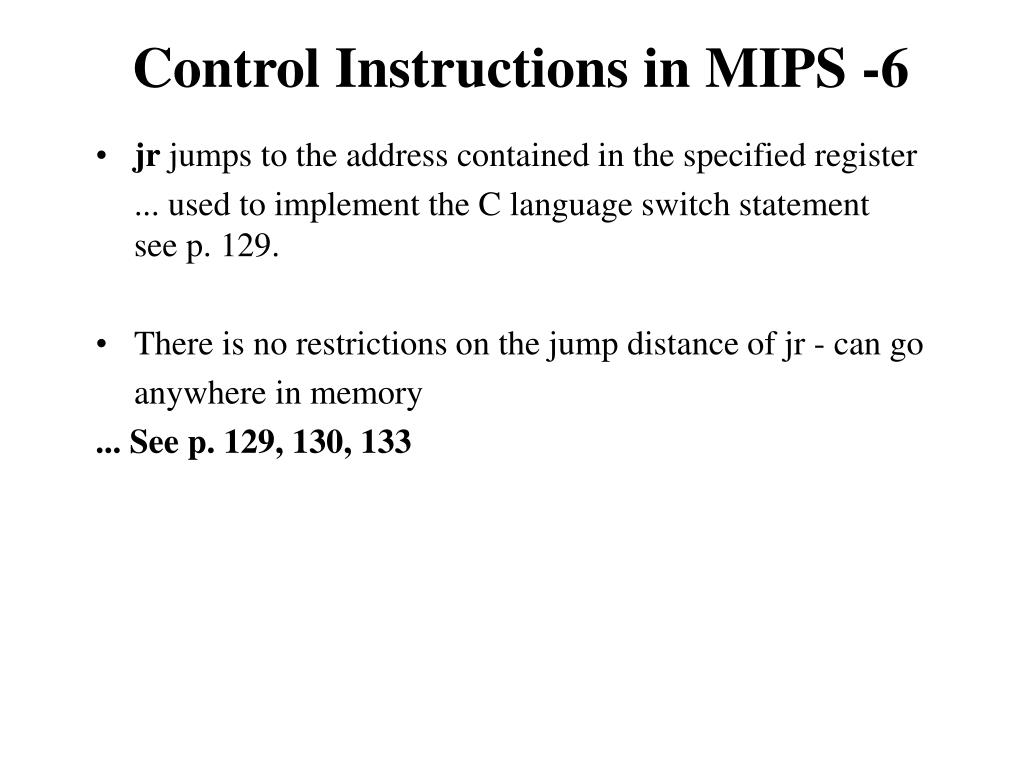 Control Instructions in MIPS -6