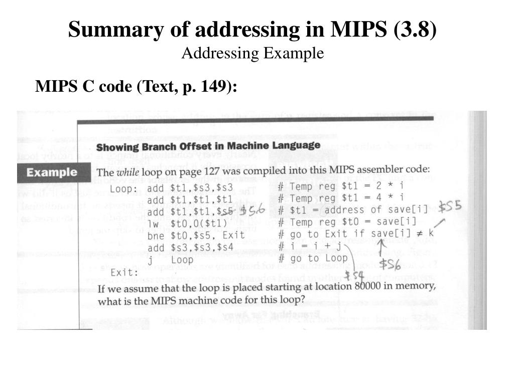 Summary of addressing in MIPS (3.8)