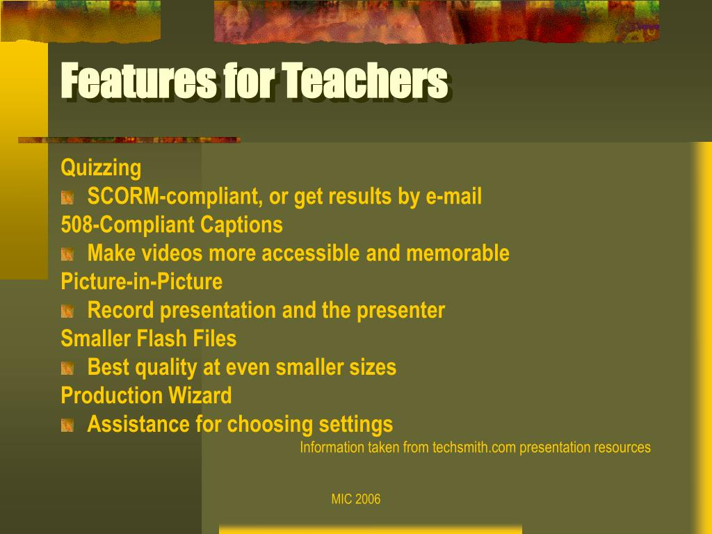 Features for Teachers