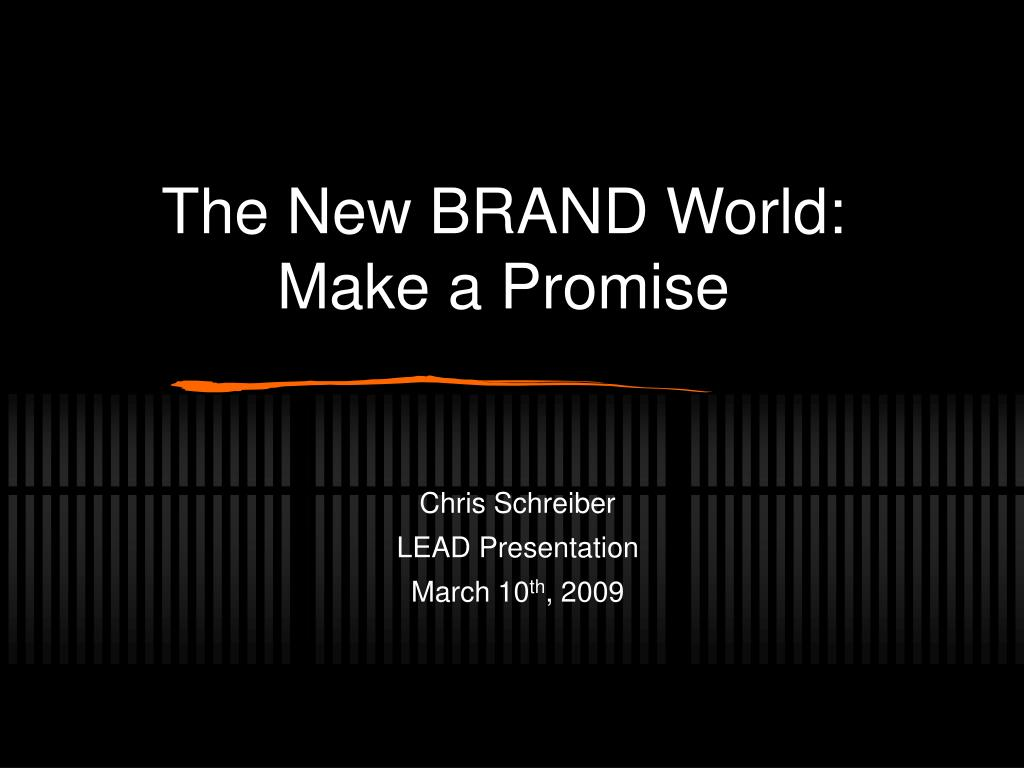 the new brand world make a promise l.