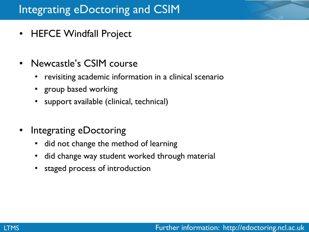 Integrating eDoctoring and CSIM