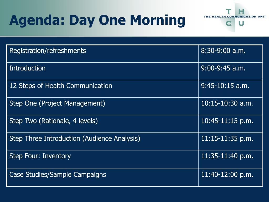 Agenda: Day One Morning