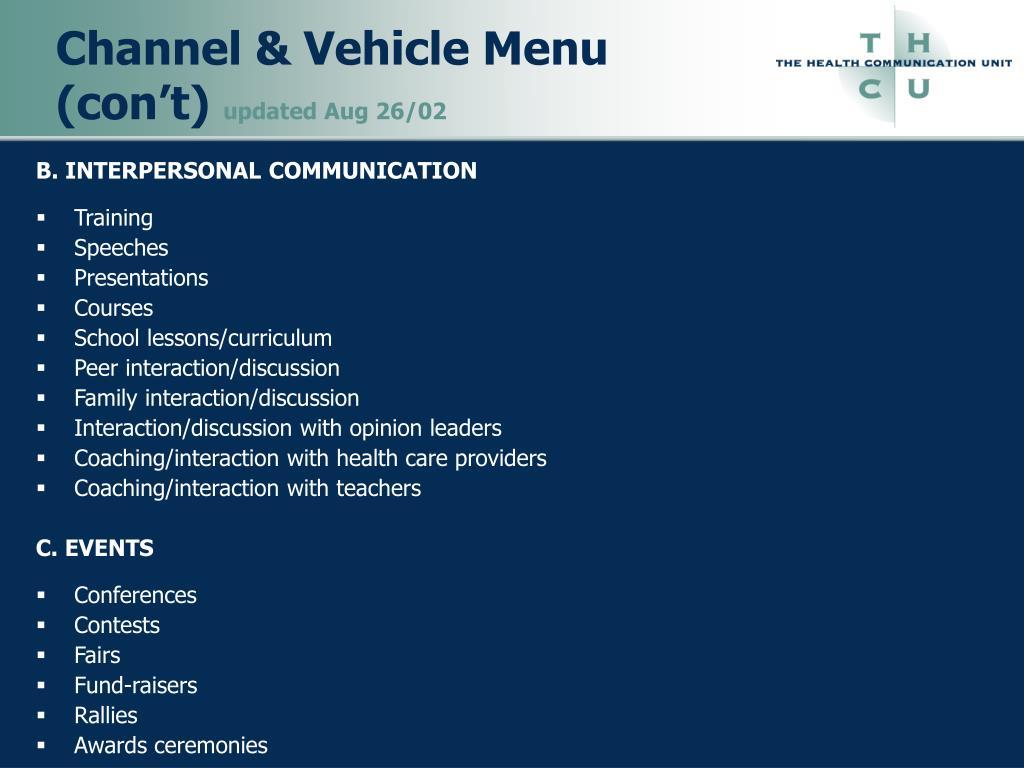 Channel & Vehicle Menu (con't)