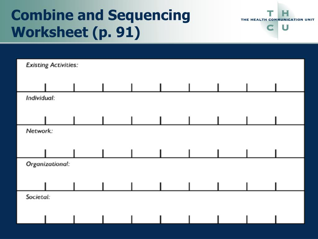 Combine and Sequencing Worksheet (p. 91)