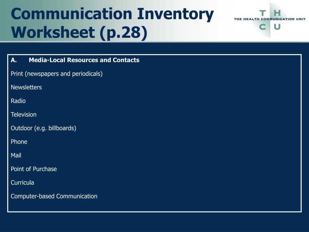 Communication Inventory Worksheet (p.28)