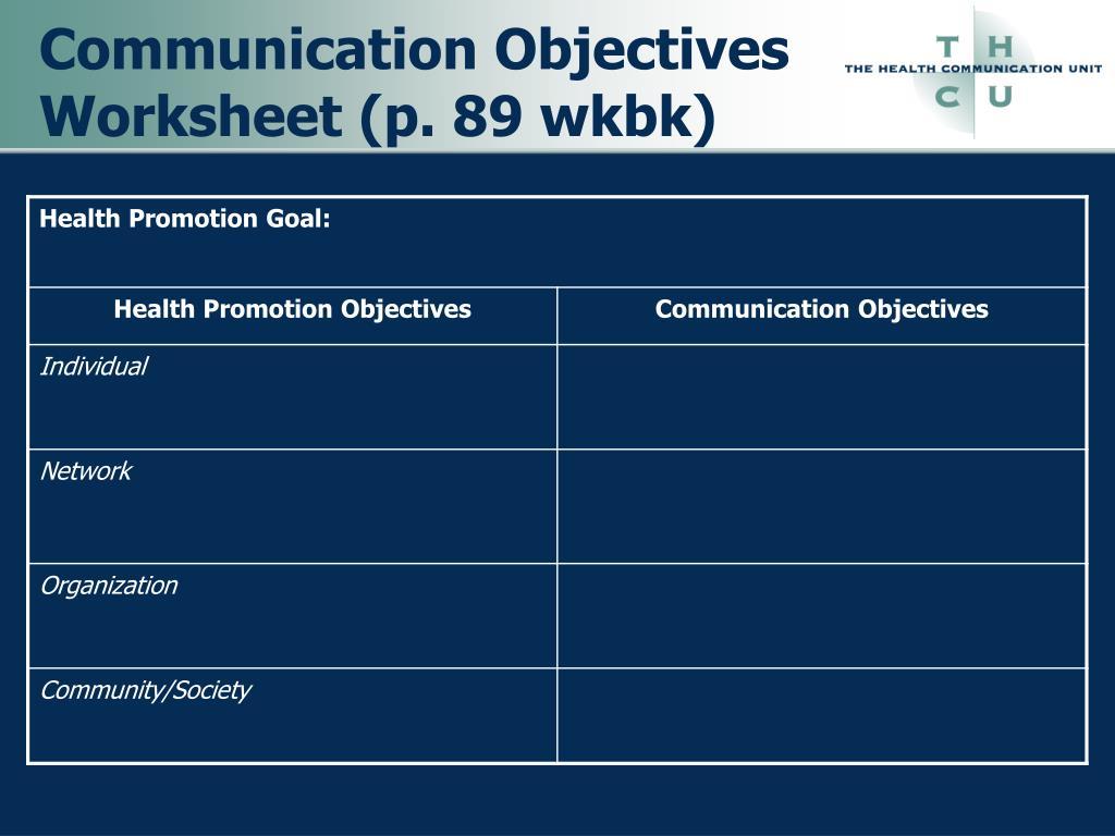 Communication Objectives Worksheet (p. 89 wkbk)