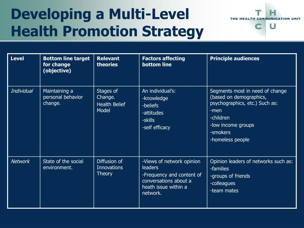 Developing a Multi-Level Health Promotion Strategy