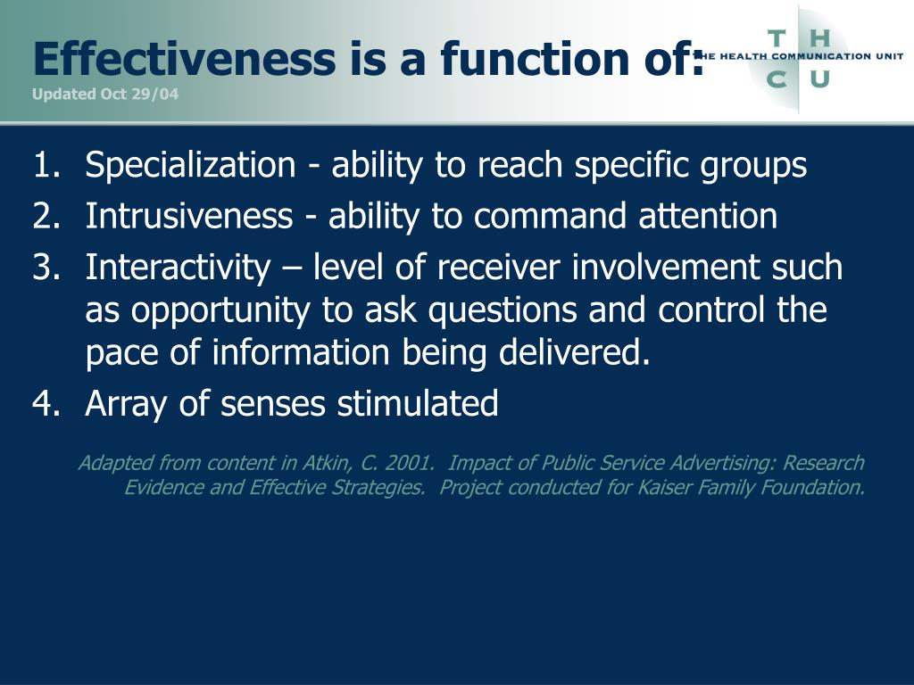 Effectiveness is a function of:
