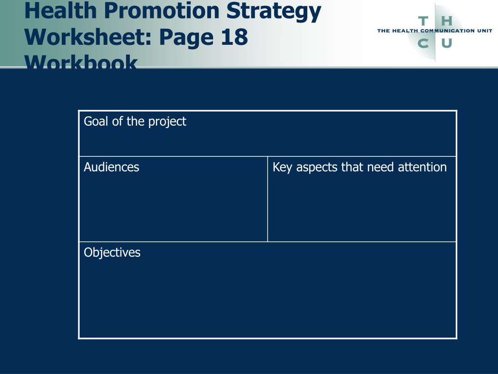 Health Promotion Strategy Worksheet: Page 18 Workbook