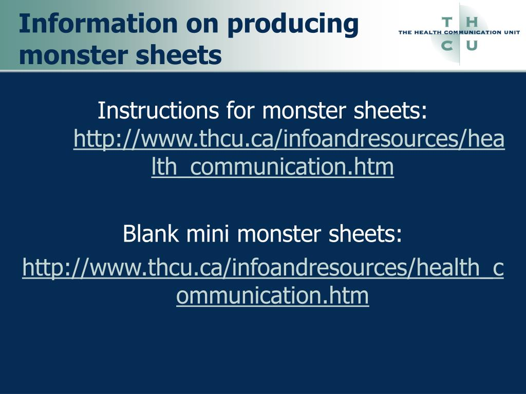 Information on producing monster sheets