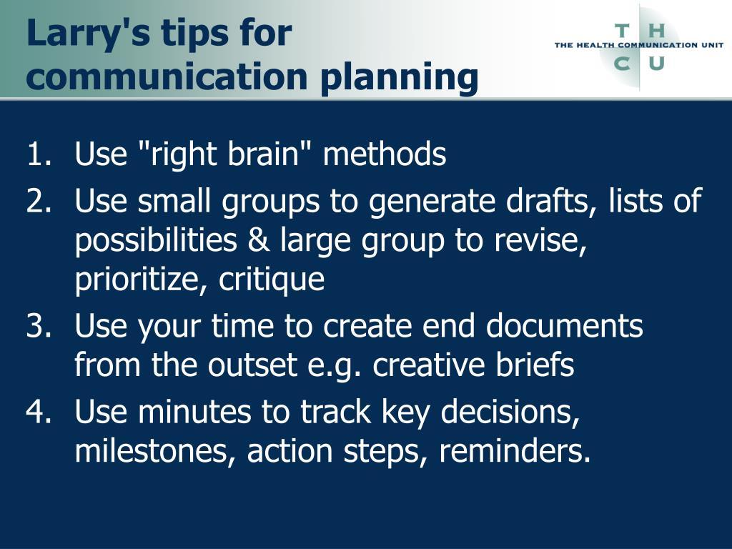 Larry's tips for communication planning
