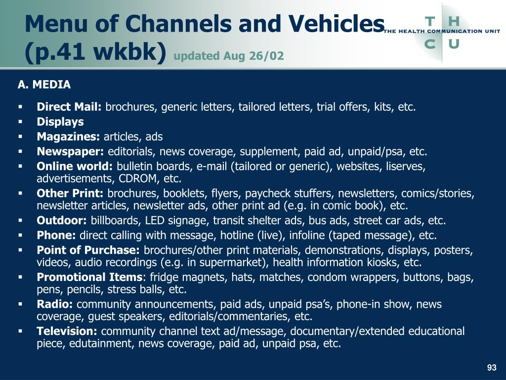 Menu of Channels and Vehicles (p.41 wkbk)