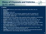 menu of channels and vehicles p 41 wkbk updated aug 26 02