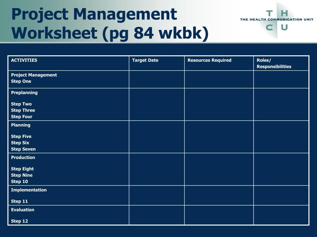 Project Management Worksheet (pg 84 wkbk)