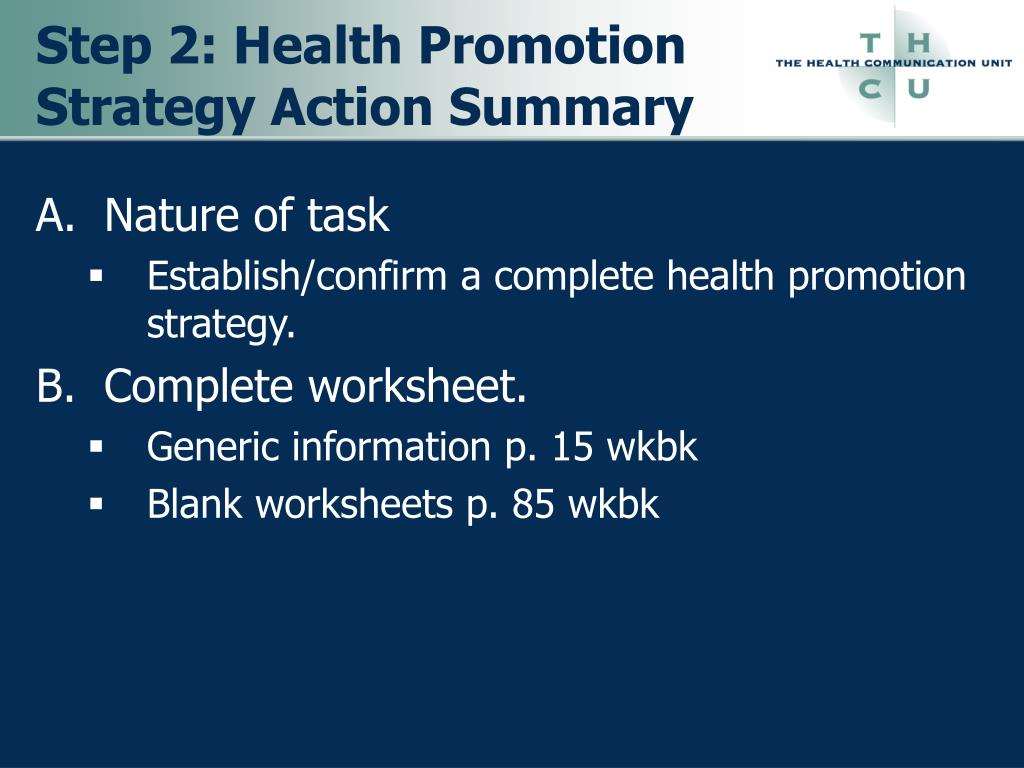 Step 2: Health Promotion Strategy Action Summary