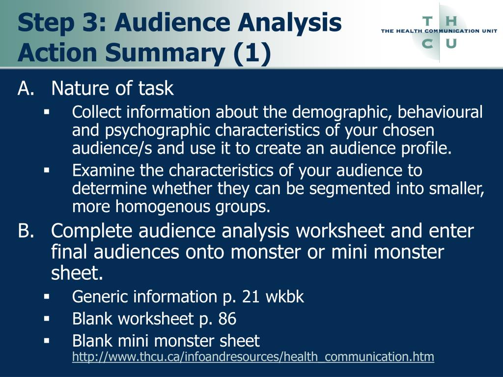 Step 3: Audience Analysis Action Summary (1)