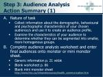 step 3 audience analysis action summary 1