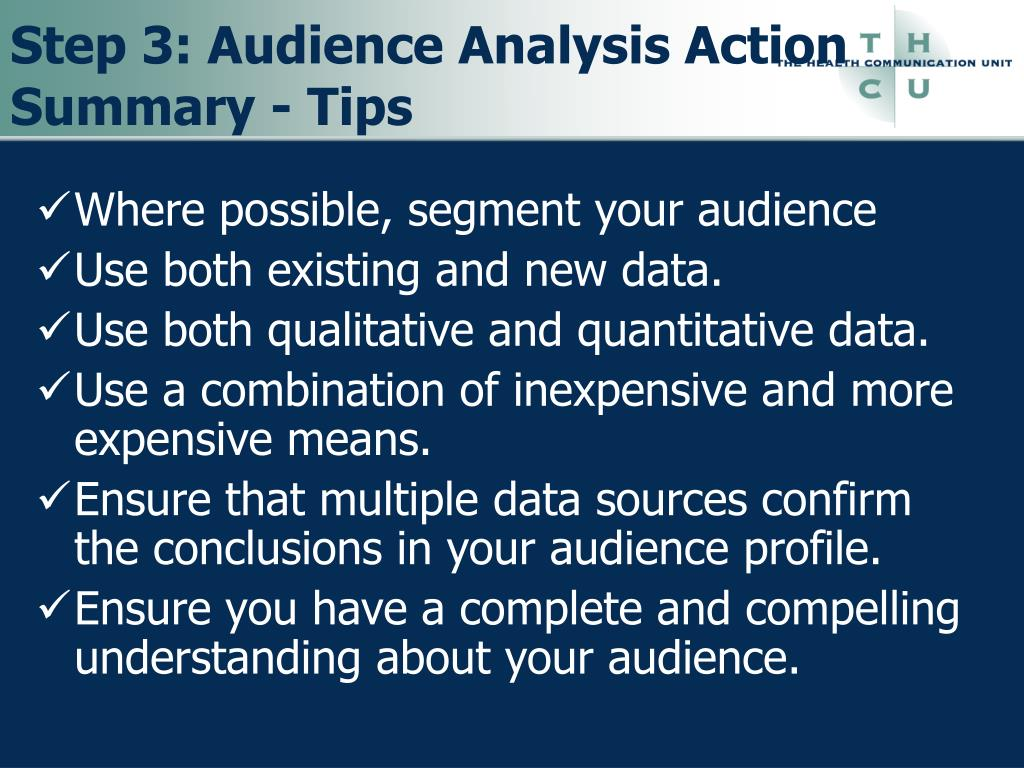 Step 3: Audience Analysis Action Summary - Tips