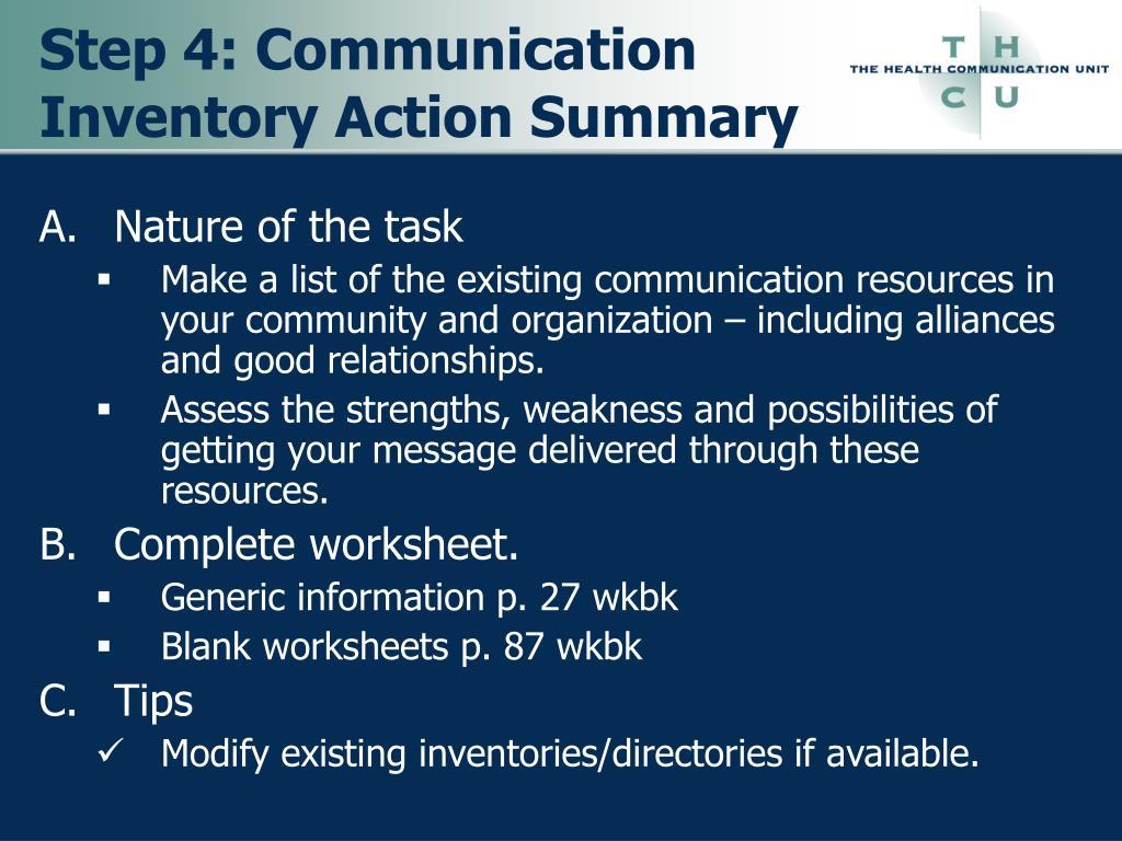 Step 4: Communication Inventory Action Summary