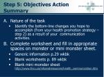 step 5 objectives action summary