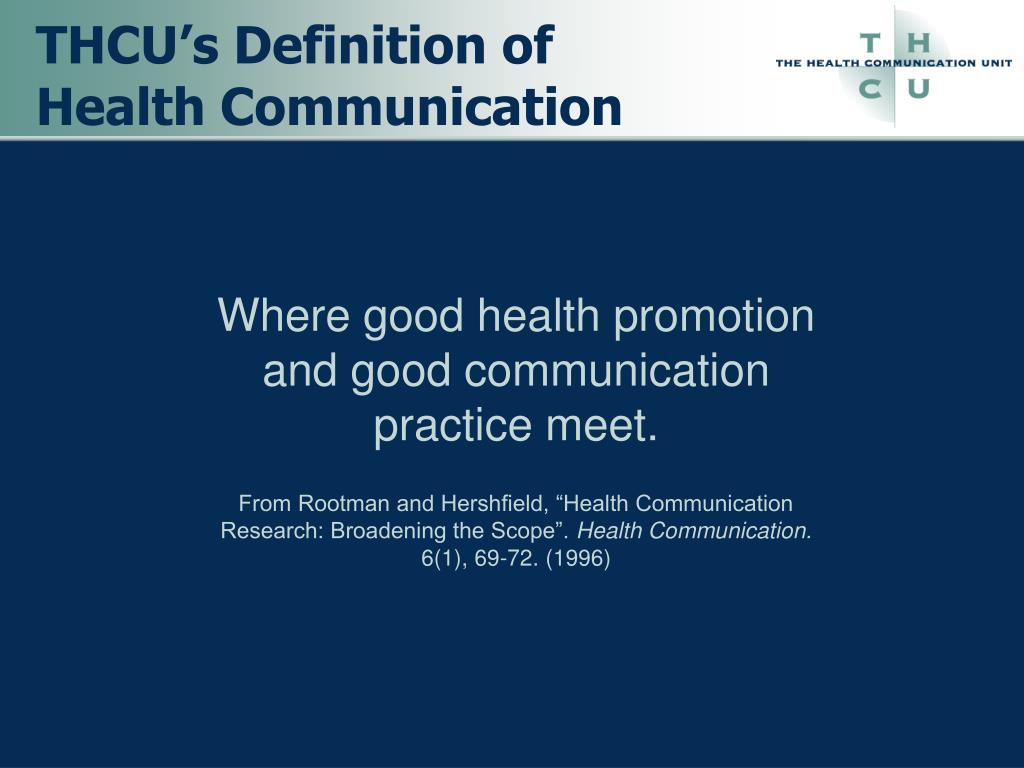 Where good health promotion and good communication practice meet.