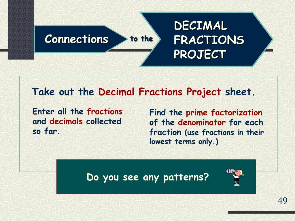 DECIMAL FRACTIONS PROJECT