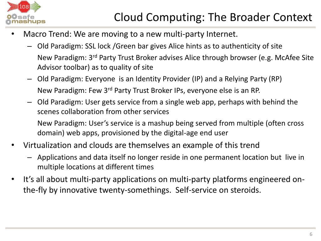 Cloud Computing: The Broader Context