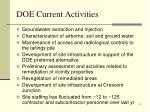 doe current activities