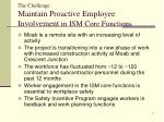 the challenge maintain proactive employee involvement in ism core functions