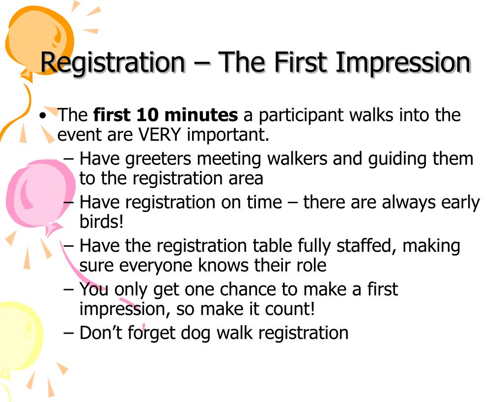 Registration – The First Impression