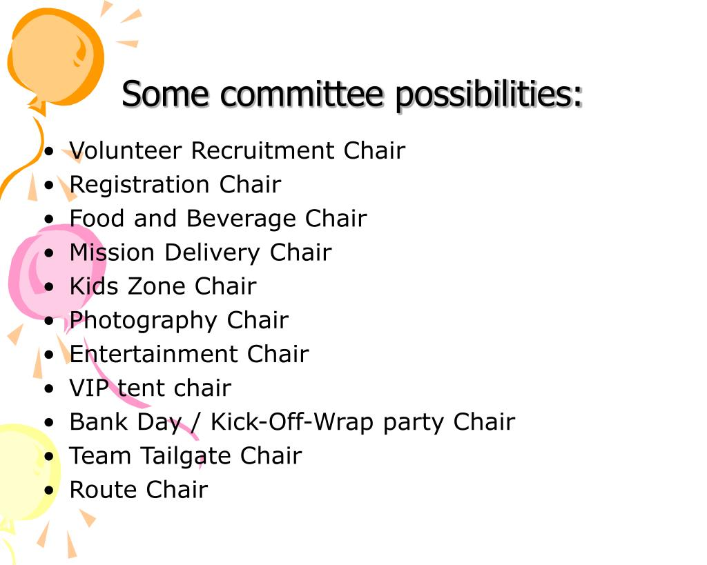 Some committee possibilities: