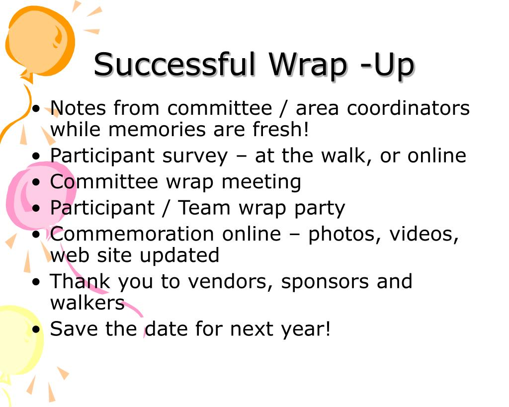 Successful Wrap -Up