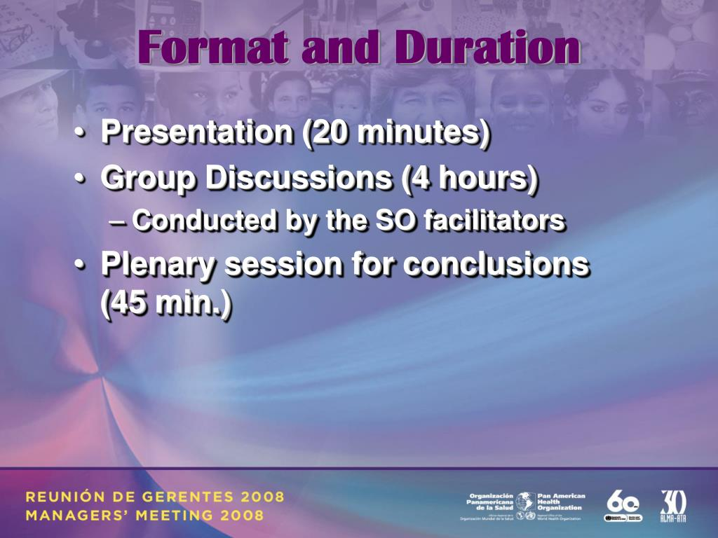 Format and Duration