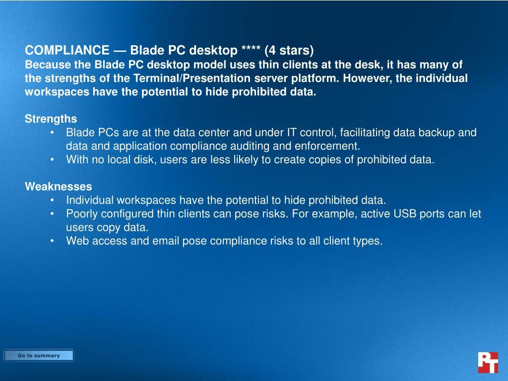 COMPLIANCE — Blade PC desktop **** (4 stars)