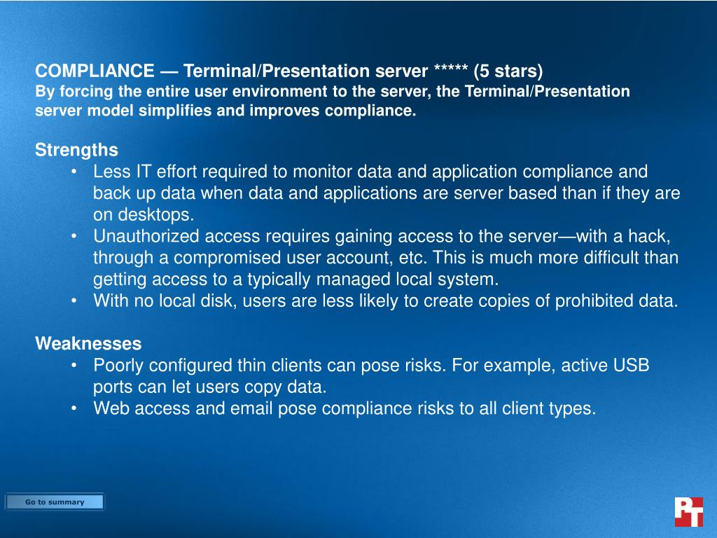 COMPLIANCE — Terminal/Presentation server ***** (5 stars)