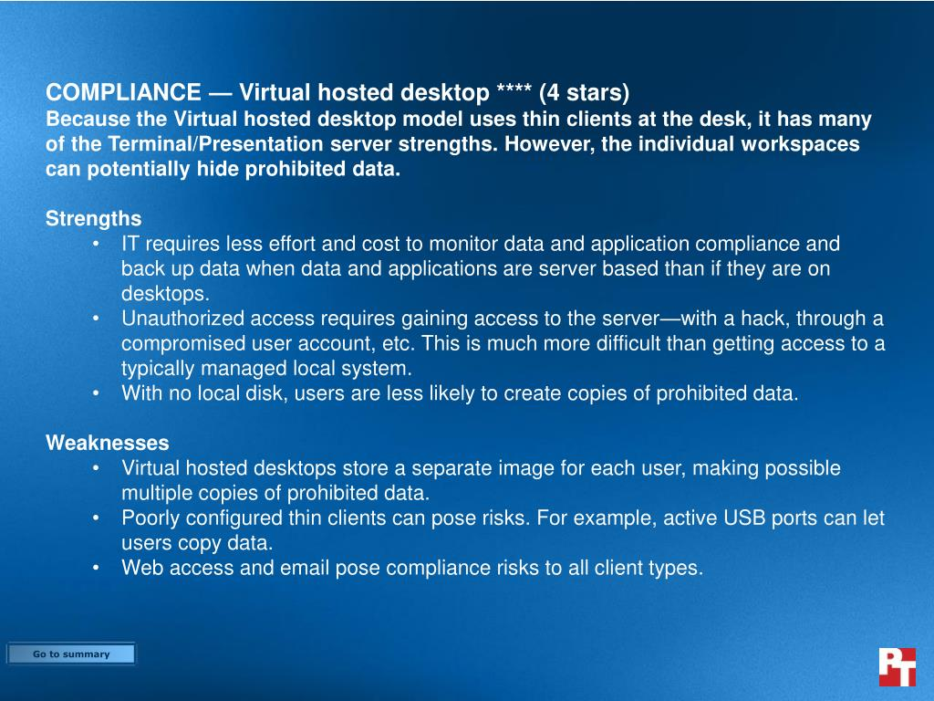 COMPLIANCE — Virtual hosted desktop **** (4 stars)
