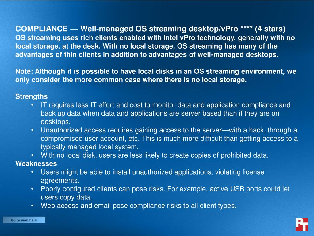 COMPLIANCE — Well-managed OS streaming desktop/vPro **** (4 stars)