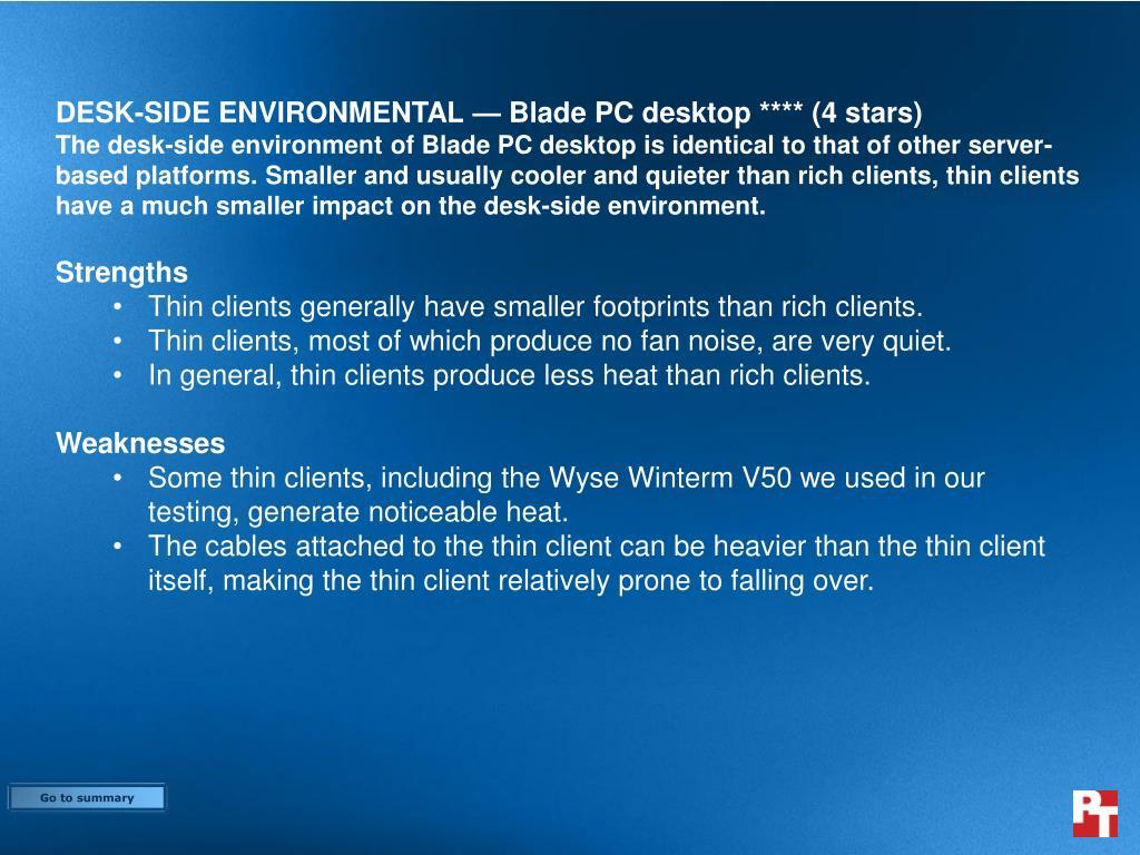 DESK-SIDE ENVIRONMENTAL — Blade PC desktop **** (4 stars)
