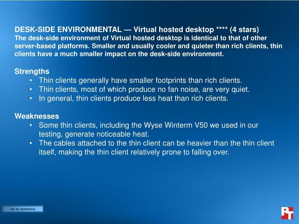 DESK-SIDE ENVIRONMENTAL — Virtual hosted desktop **** (4 stars)