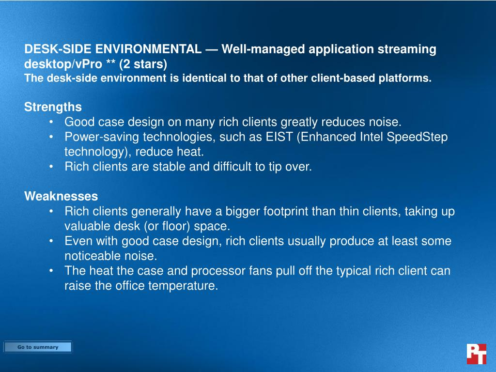 DESK-SIDE ENVIRONMENTAL — Well-managed application streaming desktop/vPro ** (2 stars)