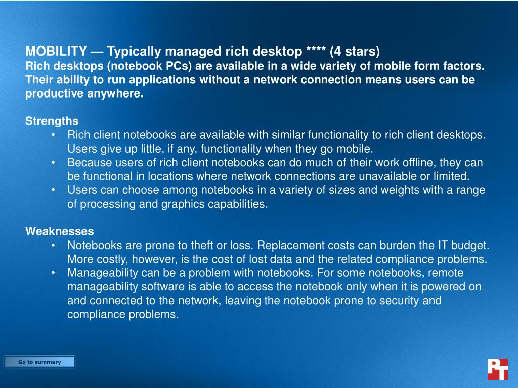 MOBILITY — Typically managed rich desk