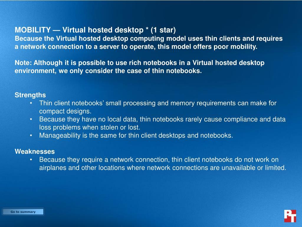 MOBILITY — Virtual hosted desktop * (1 star)