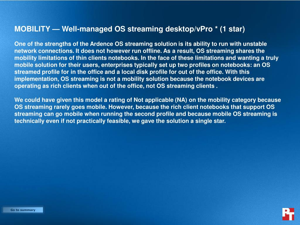 MOBILITY — Well-managed OS streaming desktop/vPro * (1 star)