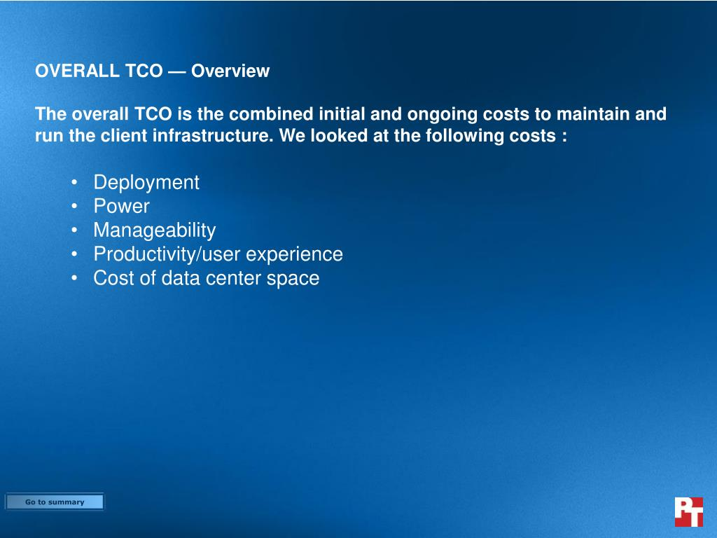 OVERALL TCO — Overview