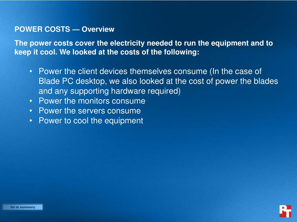 POWER COSTS — Overview