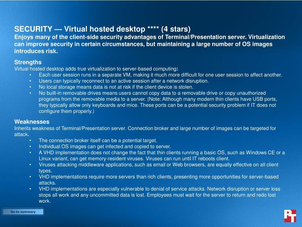 SECURITY — Virtual hosted desktop **** (4 stars)