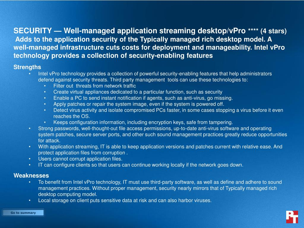 SECURITY — Well-managed application streaming desktop/vPro
