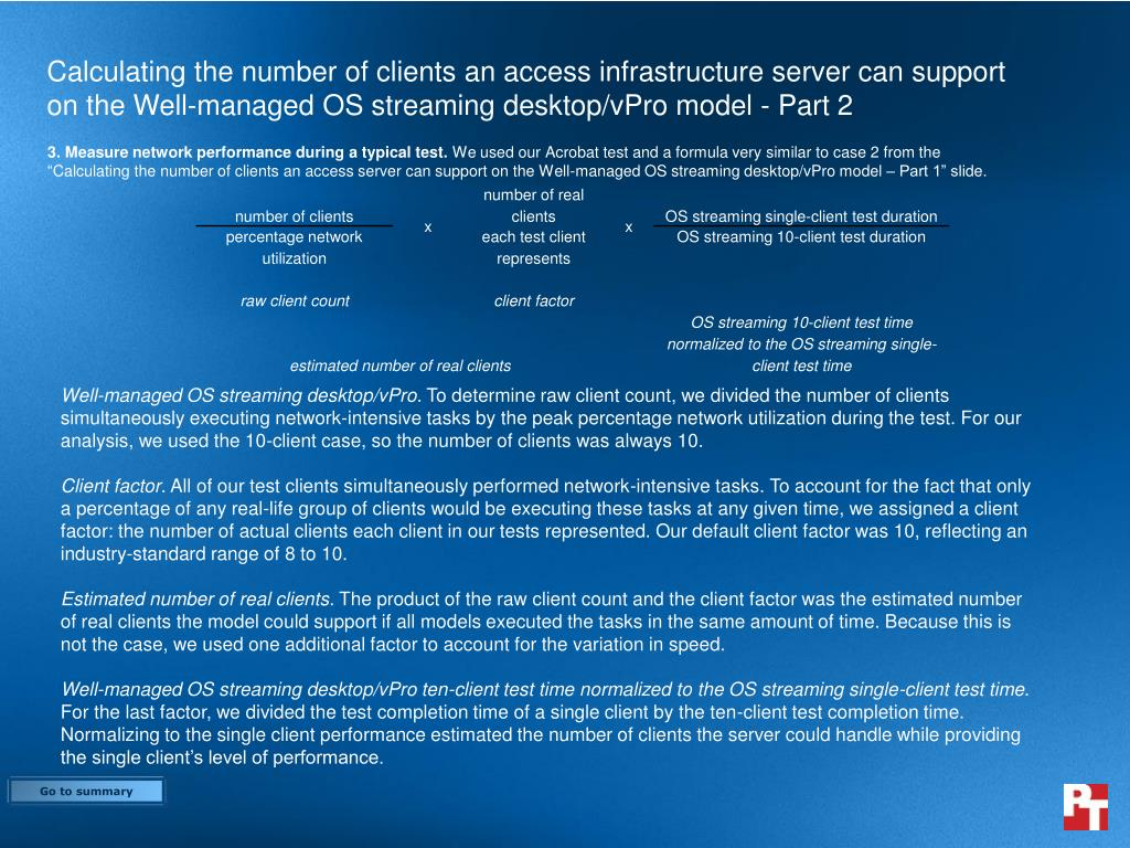 Calculating the number of clients an access infrastructure server can support on the Well-managed OS streaming desktop/vPro model - Part 2