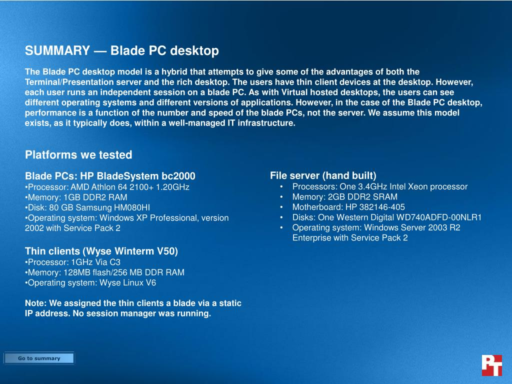 SUMMARY — Blade PC desktop